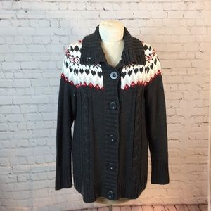 Dressbarn gray cable knit cardigan red/white yoke